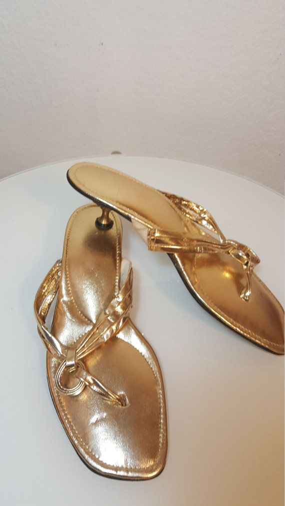 FREE  SHIPPING  Mod Gold Sandal Heels by VintageRevengCouture