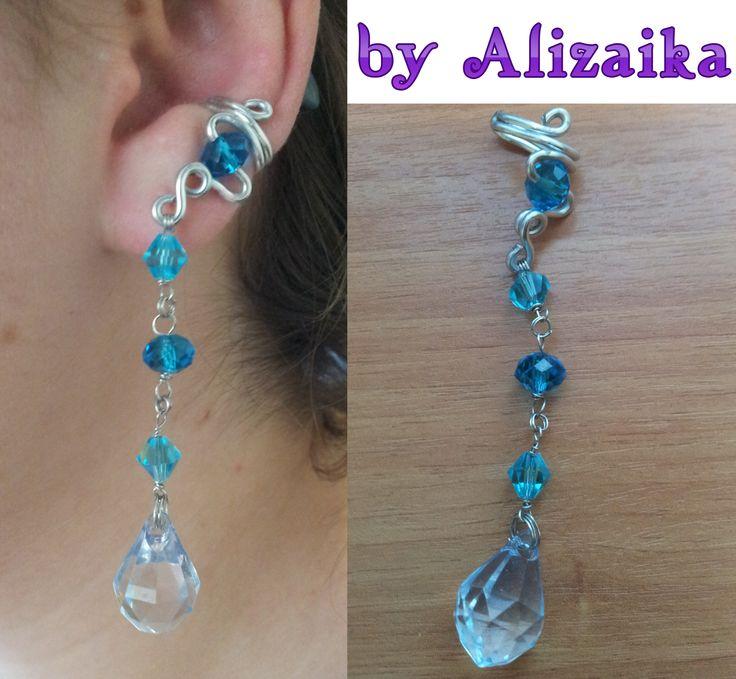 """150 р. Кафф """"Blue Tears"""" Возможно исполнение в других цветах Материалы: алюминиевая проволока (1,5 мм), кристаллики 8*2 см"""