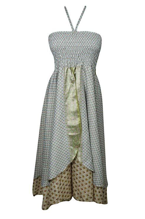 e084201456 Mogul Interior Womens Sundress Recycled Silk Two Layer Halter Dress Skirt  OneSize