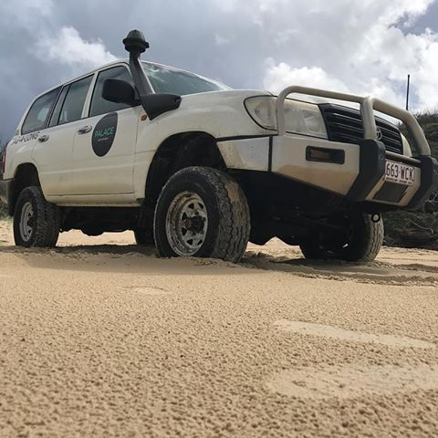 so much fun driving this beast around the sandy lanes on Fraser Island😝#fraserisland #palaceadventures