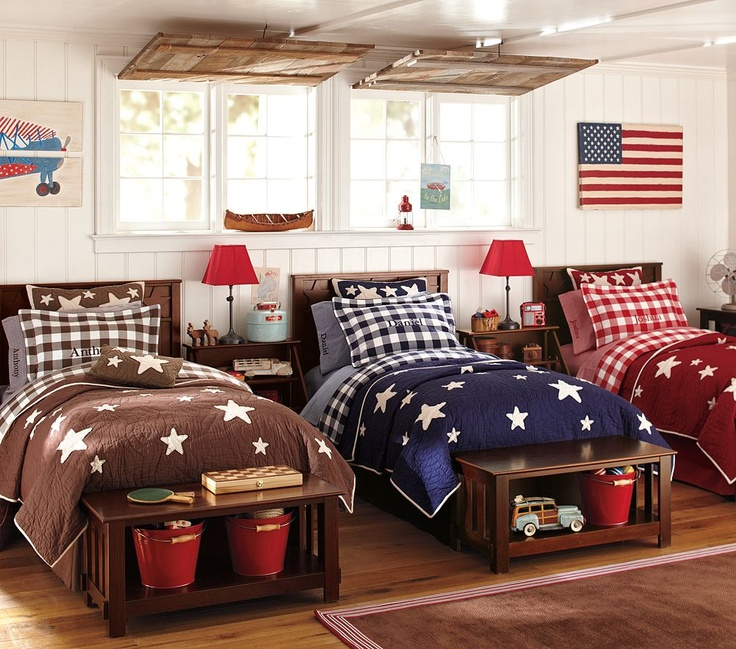 Love the three twin beds in a row bedroom ideas for Boys bedroom furniture