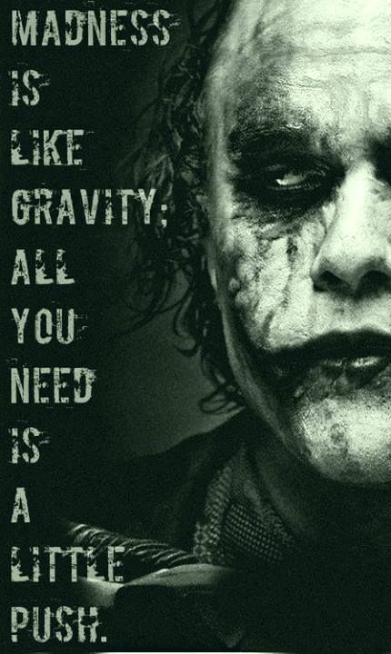 Joker <3 Feeing crazy. Pinning this to inspirational. Haha