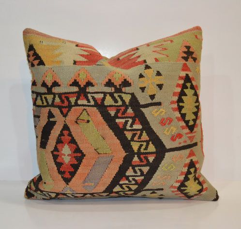 Rustic Home Decor Kilim Pillow Case Fall Cushion cover Bohemian Ethnic Euro Sham 40x40 Shabby Chic Boho Home Decor 16x16 Living room Decor $58.00