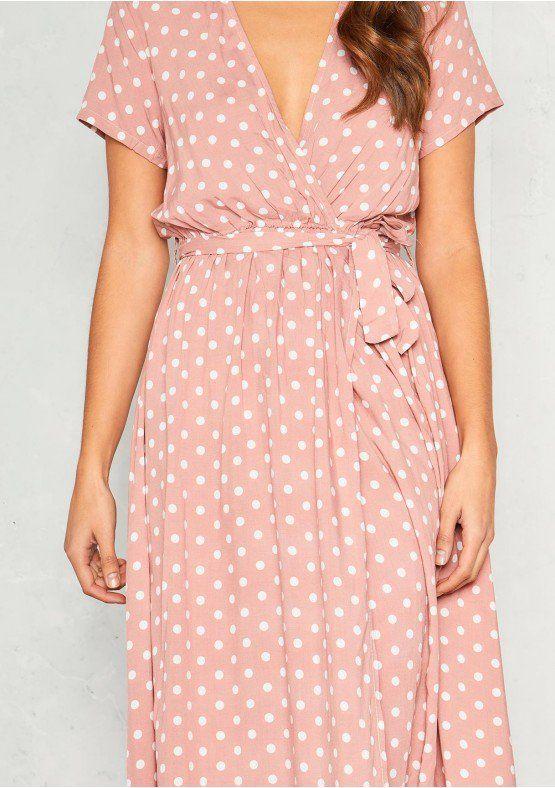 83fad462d8 Hannah Pink Polkadot Wrap Front Maxi Dress Missy Empire