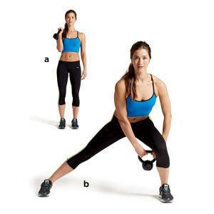 Commencez par vous mettre debout avec le dos bien droit. Écartez bien une première jambe en gardant les pieds bien alignés (l'écart doit dépasser la taille de vos hanches). Fléchissez la deuxième jambe et reportez votre poids dessus. Gardez le dos bien droit pour éviter de vous blesser. Faites l'exercice 5 fois avant d'alterner les jambes. Exercez-vous 15 à 20 minutes par jour.