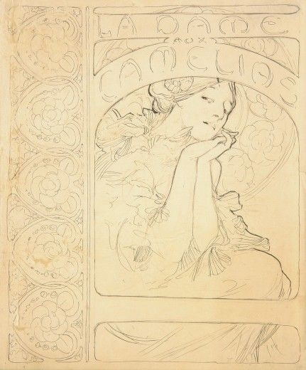 La Dame aux Camélias: designs for cover and interior of special programme by Alphonse Mucha. 1896