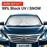 #10: ANTOER Car Sun Shade Travel Pouch Large Sizes Windshield Sun Shade With 2 Ears Block Out 99% UV Rays Heat & Snow Car SunShade Keep Automobile Cool Easy to use 63x31