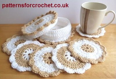 Make This Lovely Crochet Coaster Basket With Matching Coasters