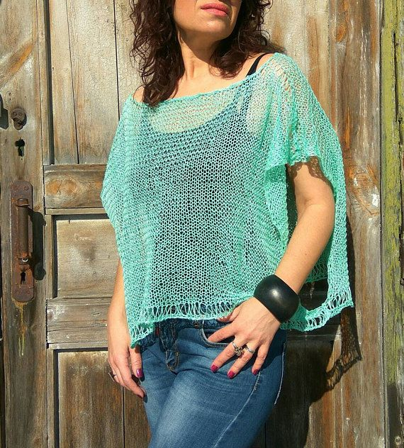 Enjoy every moment of the hot summer day with mint linen poncho sweater! Oversize top is a total summer must-have , isnt it? This poncho is perfect for any body shape! Boho poncho knitted with hands from premium superfine linen yarn - 100% linen. You can style this poncho with pants,