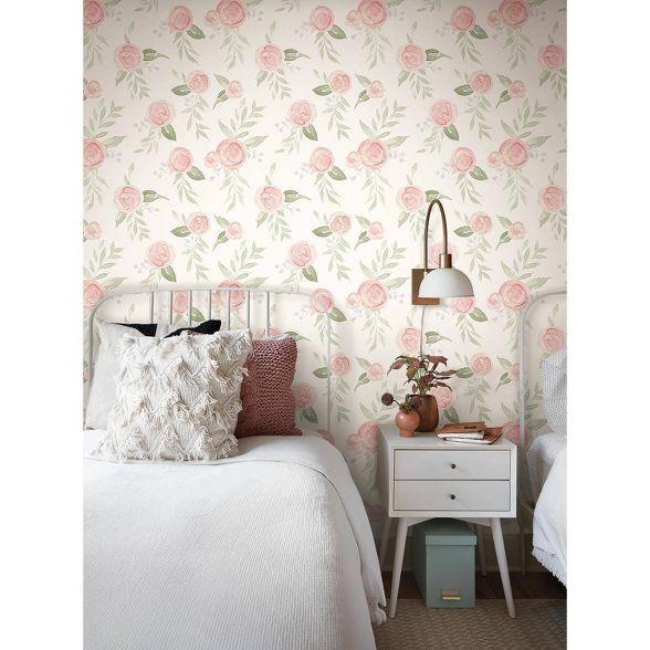Roommates Watercolor Roses Magnolia Home Wallpaper Cream Home Wallpaper Magnolia Homes Joanna Gaines Wallpaper