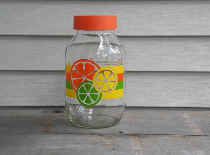 Large vintage refrigerator jar, Sun Tea jar, 3 liter glass jug to make lemonade or limeade or homemade iced tea, 80's kitchen juice jug by TeaStainedLace on Etsy