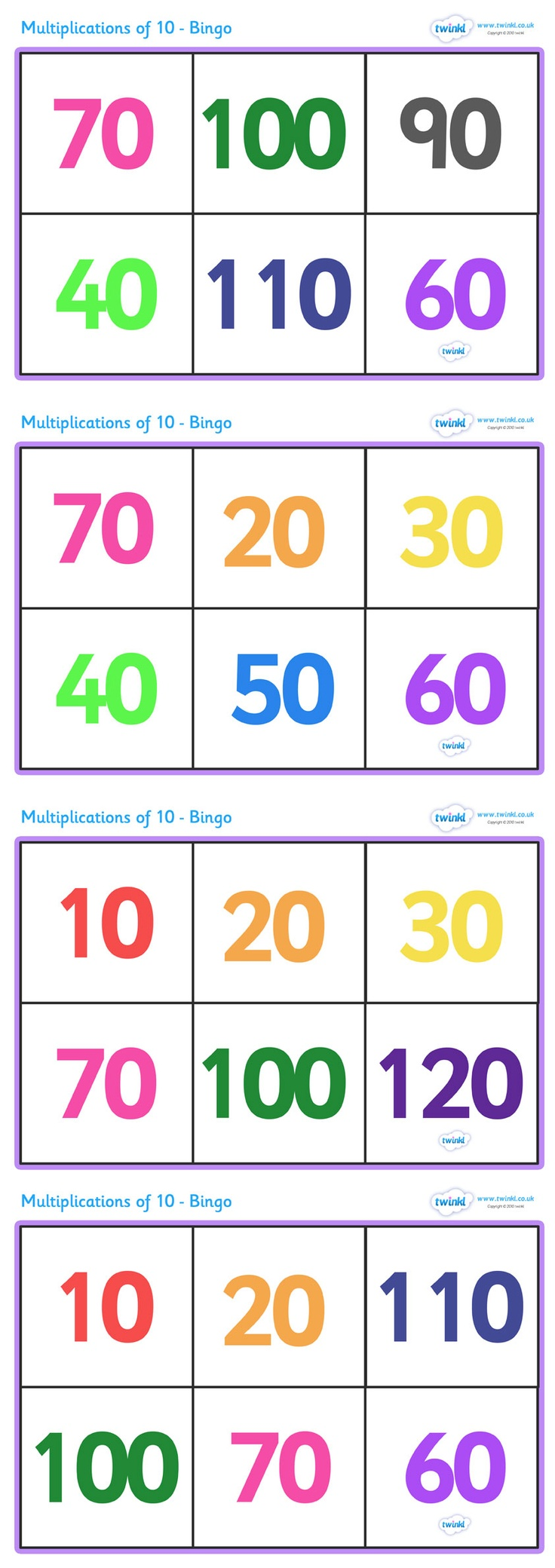 Table Salamanger Violon : Ten+Times+Table Ten Times Table Bingo - Pop over to our site at www ...