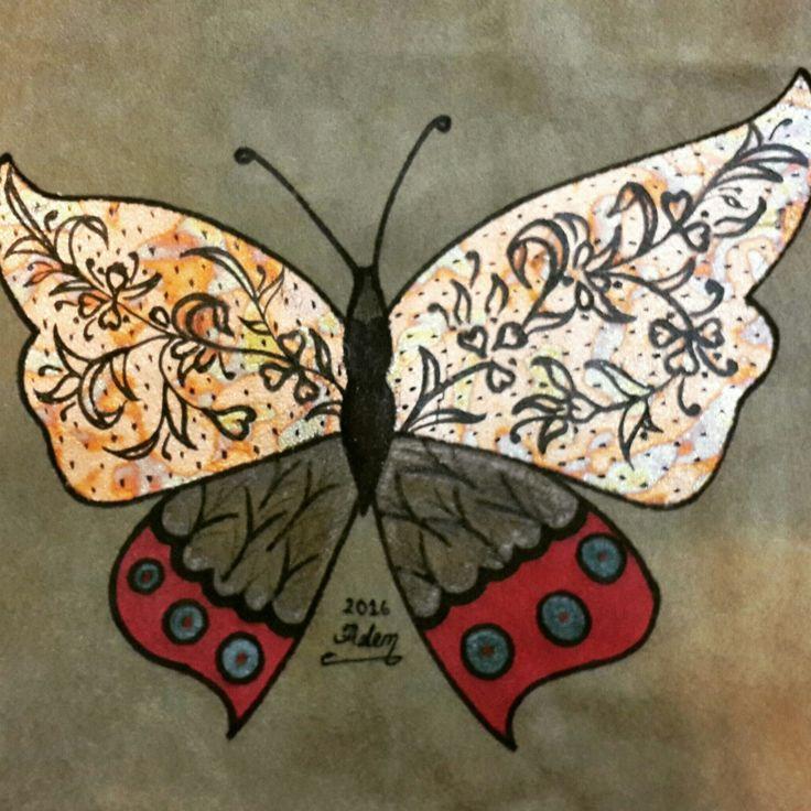 Deri üzerine  altin varak yapıştırma ve boyama kelebek.