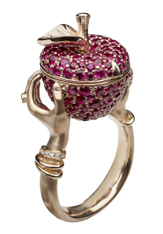 Stephen Webster. Murder She Wrote Poison Apple Ring set in 18ct Rose Gold with Pave Rubies and White Diamond detailing. Price from £11,250