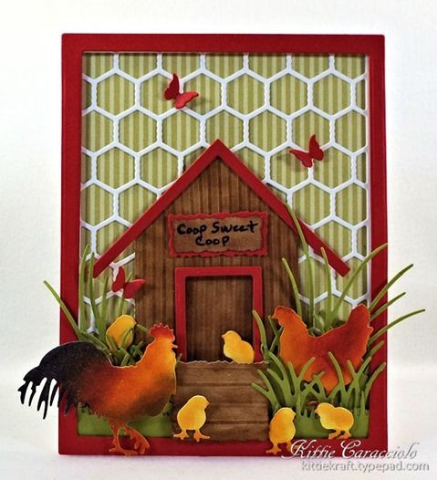 KC Roosters and Chickens Coop Sweet Coop... I thought while I was coloring the rooster for my scene I would share a few step by step shots. My first step was to apply Wild Honey ink over the body and head of the chicken.