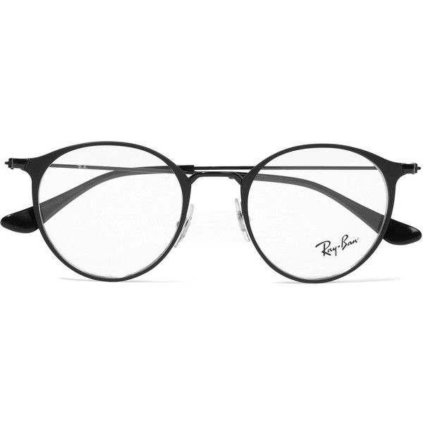 Ray-Ban Round-frame metal optical glasses ($175) ❤ liked on Polyvore featuring accessories, eyewear, eyeglasses, glasses, sunglasses, jewelry, oculos, black, ray ban glasses and metal eyeglasses