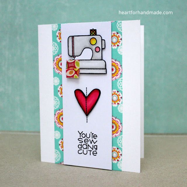 You're Sew Dang Cute card by Ria Montefalcon - Paper Smooches - Needle Little Love