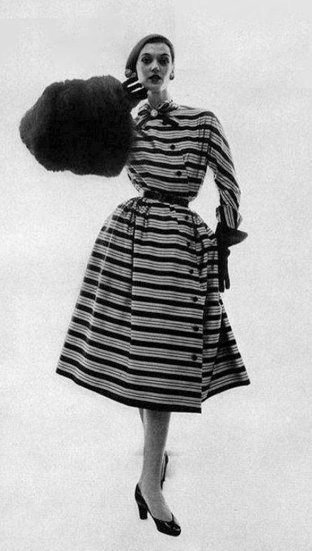 1951 striped silk taffeta dress by Christian Dior