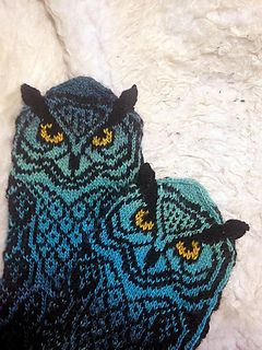 Owl mittens with knit-on ears.