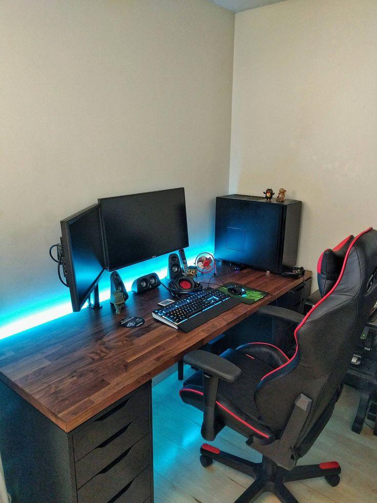 17 best ideas about gaming desk on pinterest pc setup. Black Bedroom Furniture Sets. Home Design Ideas