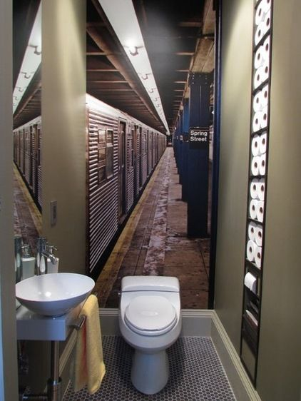 love the subway photo wall mural! // eclectic bathroom by Olive Juice Designs