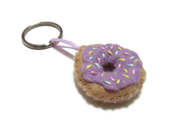 Purple Donut Purse Charm. Key Chains For Women. Food Gift.