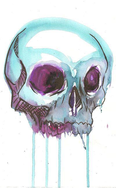watercolor skull.. favoriteeee