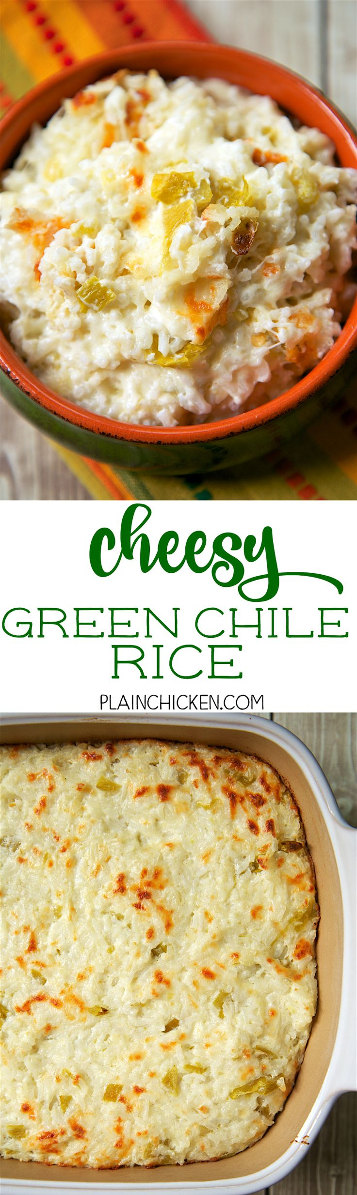Cheesy Green Chile Rice - only 4 ingredients. Rice, mozzarella, sour cream and green chiles. This rice is THE BEST! So simple, but SO delicious! Everyone went back for seconds. A new favorite!! LOVE this quick and easy Mexican side dish recipe.
