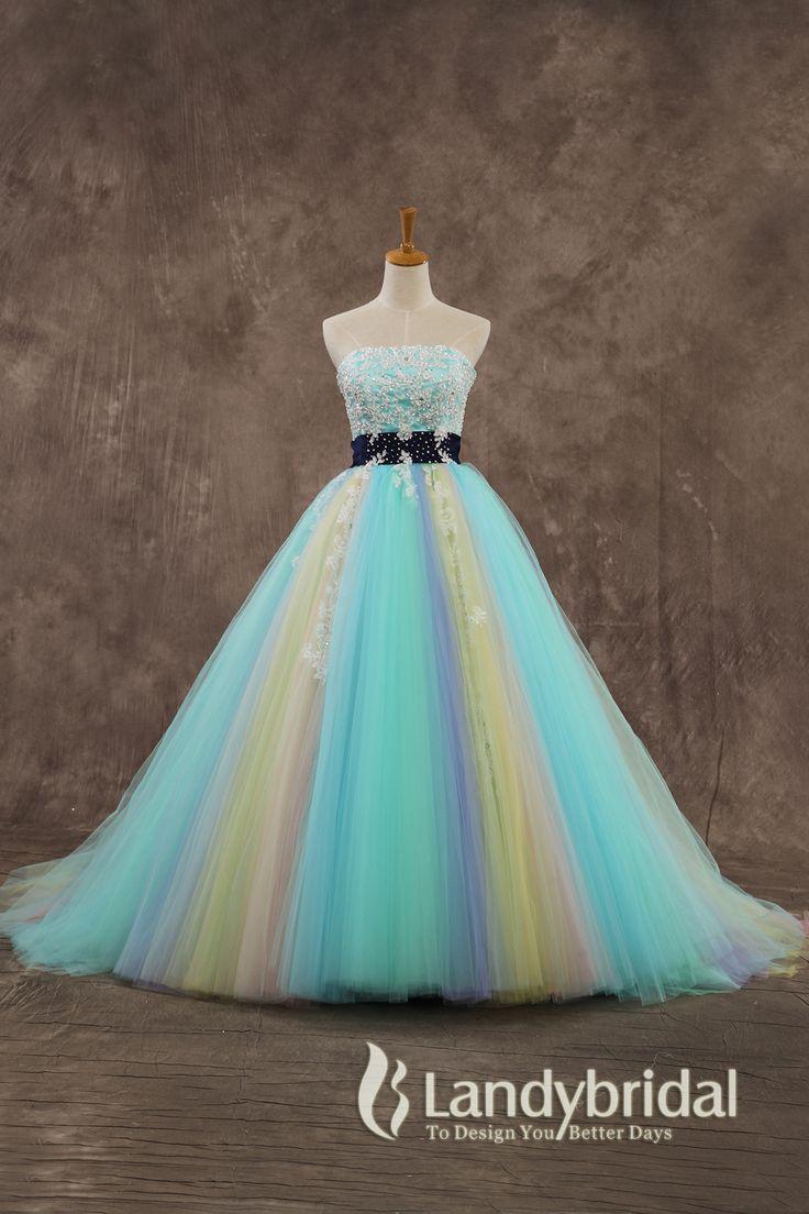 カラードレス プリンセス レインボードレス カラフルドレス リボン飾り 豪華な刺繍とビーズ ld3626