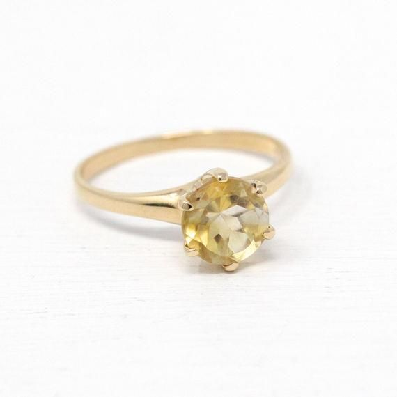 Beautiful Vintage 1950s Mid Century Era 10k Gold Genuine Citrine Ring This Pretty Solitaire Style Rin Genuine Citrine Citrine Ring November Birthstone Jewelry