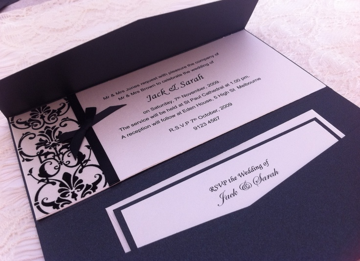 Elegant black and white themed wedding invitations