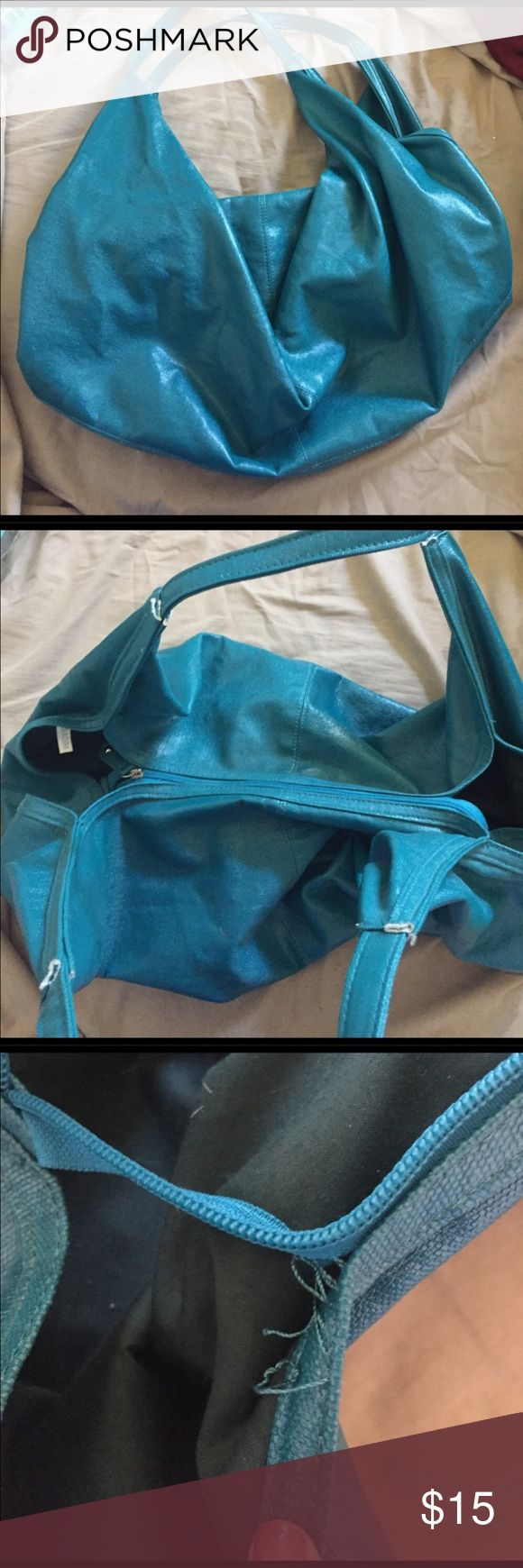Big Buddha Teal Bag Gorgeous Big Buddha Teal Purse with black interior // Has small tear as shown in photo, doesn't affect the use of the purse Big Buddha Bags Shoulder Bags