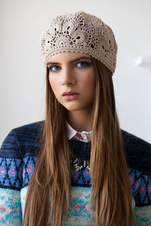 Crochet beret   Купить Вязаный берет из хлопка - бежевый, цветочный, вязаный берет, летний берет