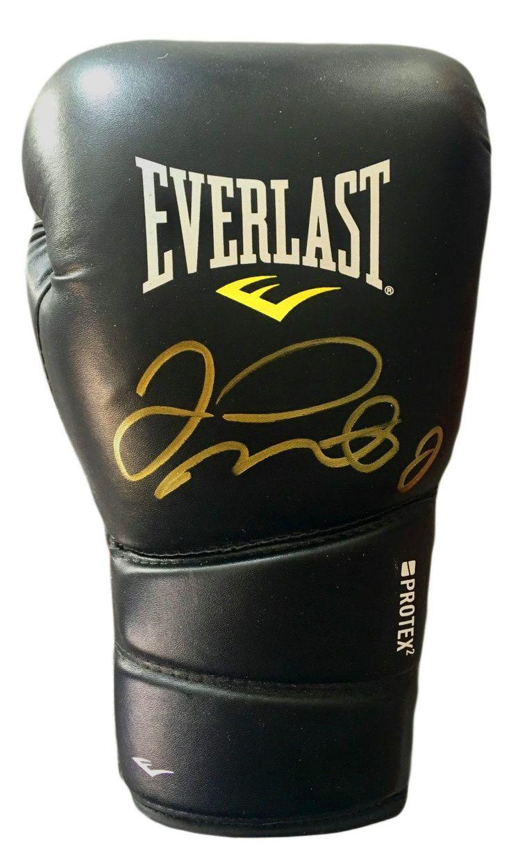 Floyd Mayweather Jr. Autographed Black Everlast Boxing Glove in Gold Marker