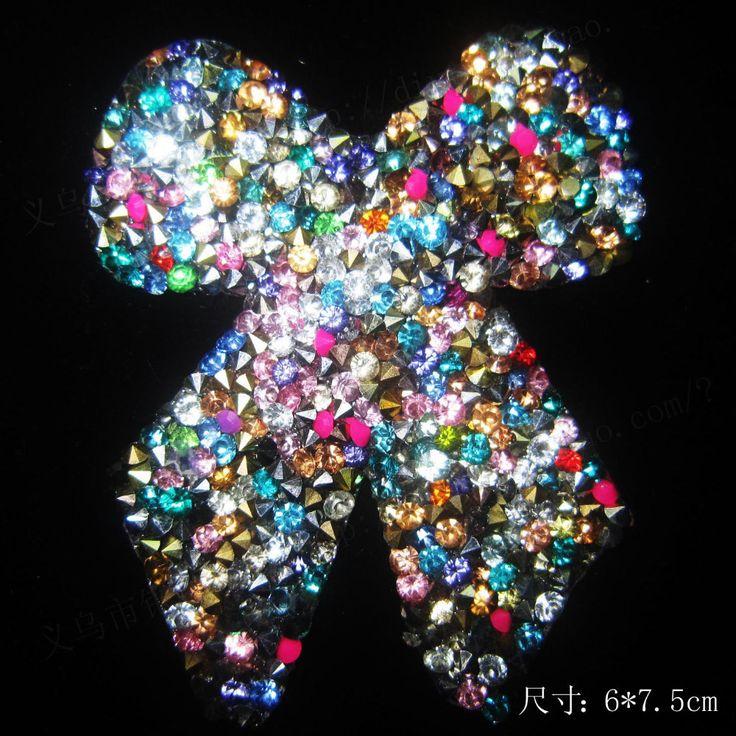 Envío gratis ( 2 unids/lote ) Multicolor nudo de la mariposa diseños transferencia iron on hot fix rhinestone motif strass cristal de hierro(China (Mainland))