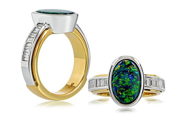 VINTAGE FINDS.... A stunningly beautiful 2.65ct black opal set in an 18ct yellow and white gold ring with baguette cut diamonds across the shoulders. Buy a rare piece, such as this one, and savor it forever.    Find this ring at www.anthonys.com.au  #opal #australianopal #gemstone #emeraldcut #diamond #diamonds #gold #yellowgold #diamondring #jewellery #anthonysfj #jewelery #gemstones #opals #love