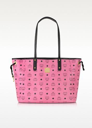MCM Shopper Project Visetos Pink Reversible Medium Tote