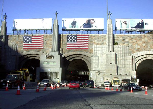 Lincoln Tunnel - a 1.5 mile long tunnel under the Hudson River, connecting Weehawken, NJ and Manhattan.  It was named about President Abraham Lincoln.
