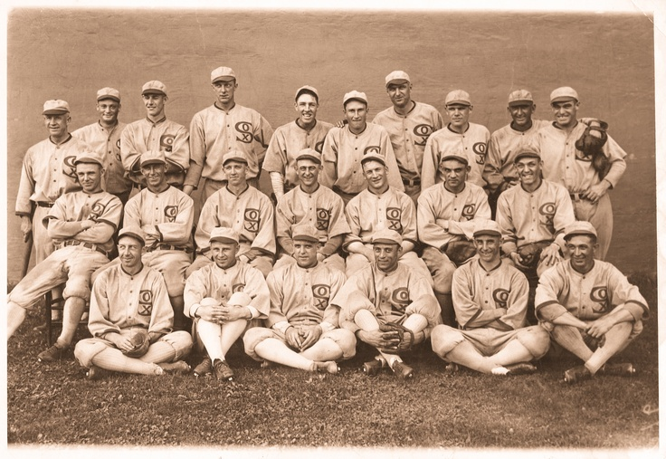 Great detailed 1919 team picture. When you zoom in, note two players in top row, second, third from left. Pitchers Sullivan and Wilkinson. Also, front row, third from right, pitcher Mayer, all wearing 1918 uniforms. Sullivan's has the distinctive little socks on logo. Mayer's and Wilkinson's have unique collar stripe, check other 1918 photos, such as pitcher Shellenback. In the 1919 photo, notice how tan Joe Jackson and John Collins are. No sunscreen in this era.