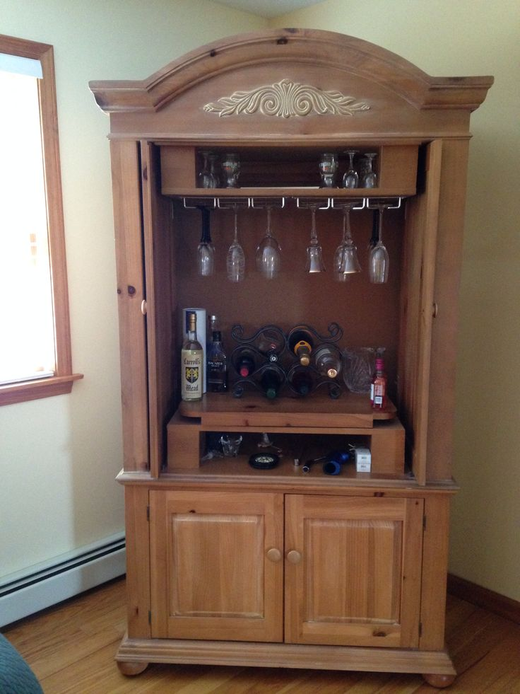 Turning a tv cabinet into a bar reuse and repurpose a for Armoire tv