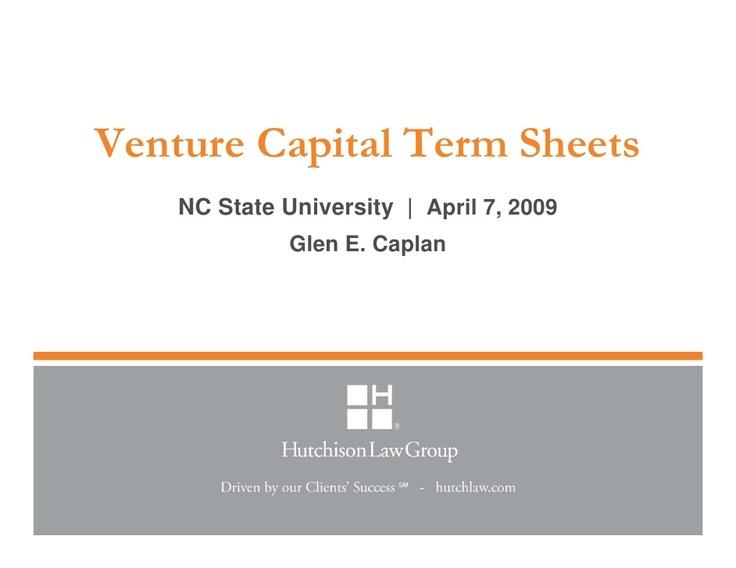 venture-capital-term-sheets-april-7-2009 by glencaplan via Slideshare