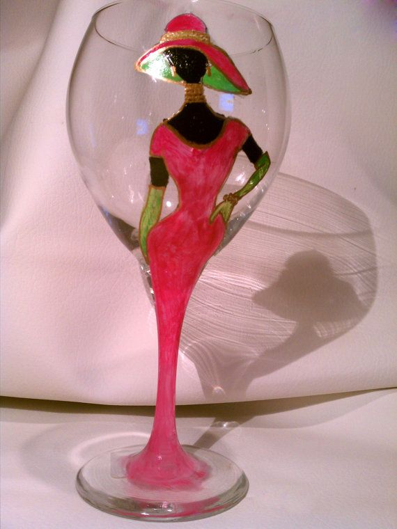 Hand-painted pink and green lady wine glass