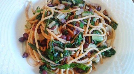 Spaghetti med sølvbeder og bønner