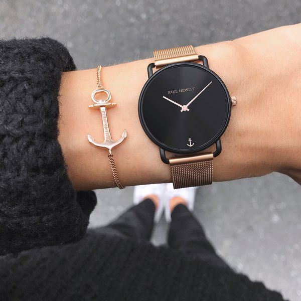 Watch Miss Ocean Black Sunray Black Mesh Rose Gold Trendy Watches Fashion Watches Womens Watches