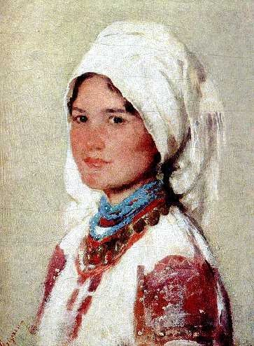 "Nicolae Grigorescu(1838-1907):  ""Peasant Girl from Muscel"""