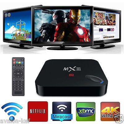 XBMC Quad Core MX3 Android 4.4  Smart TV Box 4K 2GB WIFI Bluetooth Tele Gratuite