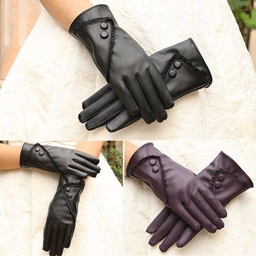 Women Ladies PU Leather Screen Touch Windproof Gloves Velvet Lining Outdoor Mittens