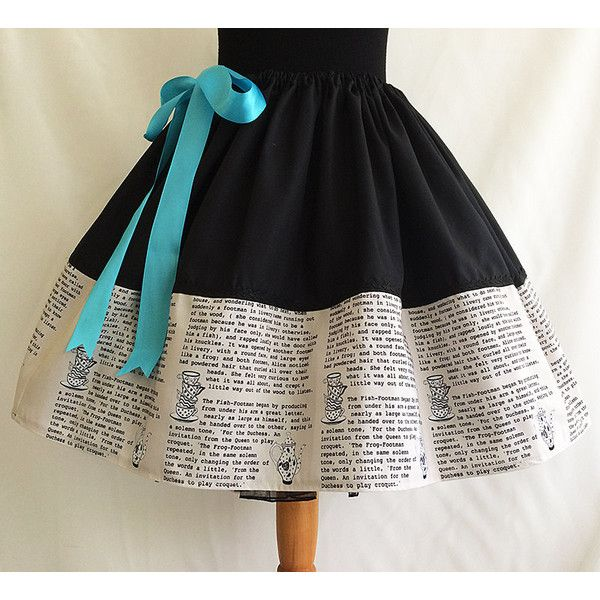 Alice in Wonderland Literature Skirt Book Skirt by Rooby Lane ($57) ❤ liked on Polyvore featuring grey, women's clothing, long skirts, long petticoat skirt, petticoat skirt, wide skirt and long puffy skirts