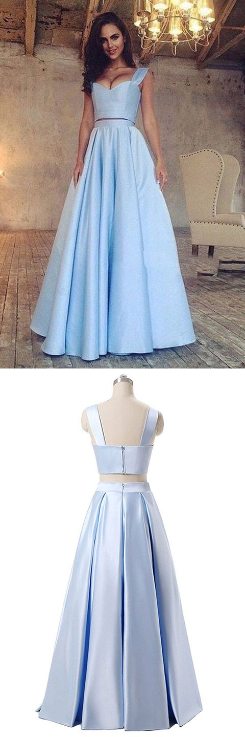 Blue Prom Dresses Long, Two Piece Formal Dresses 2018 A-line, V-neck Evening Party Dresses Satin with Ruffles