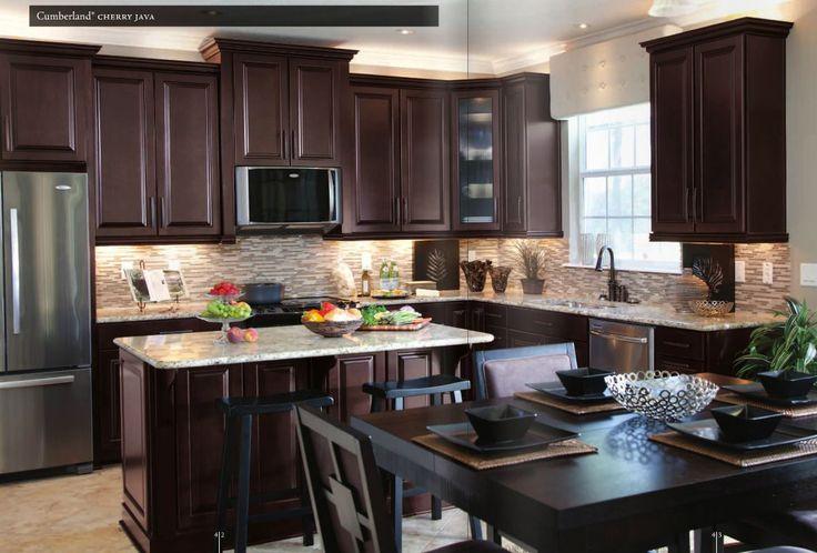 Santa Cecilia Countertop with Cherry Java Cabinets and Matchstick Mosaic Backsplash